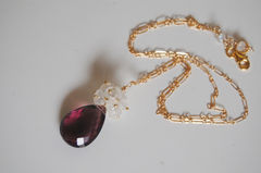 Rhodolite and Moonstone necklace with gold filled chain - product images 2 of 4