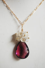 Rhodolite and Moonstone necklace with gold filled chain - product images 3 of 4