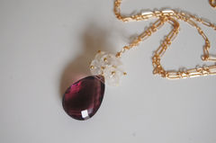Rhodolite and Moonstone necklace with gold filled chain - product images 1 of 4