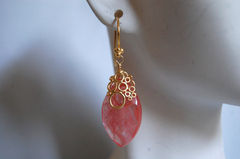 Beautiful Cherry Quartz Marquise brolette dangle earrings - product images 2 of 4