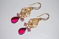 AAA vivid hot pink quartz and pink topaz chandelier - product images 2 of 3