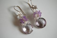AAA pink Amethyst onion briolette and moonstone earrings - product images 2 of 4