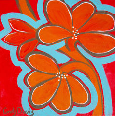 Vibrant,Flappers,orange,abstract,flowers,art,painting,wall hanging