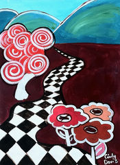Ozark,Hopscotch,Art,Painting,Abstract,original_painting,whimsical,pop,bold,pink,road,journey,folk,tree,checkboard,hills,mountains,girls,paint,acrylic,canvas