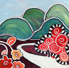 Ozark,Cuteness,Art,Painting,Canvas,whimsical,flower,folk,original_painting,pink,whimsy,cute,tree,small,landscape,ozark,hills,mountains,acrylic,canvas,paint