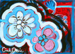 Blossom,Double,Art,Painting,Abstract,original_painting,abstract,acrylic,whimsical,pop,red,blue,flowers,tropical,floral,bold,pink,cool,paint,canvas