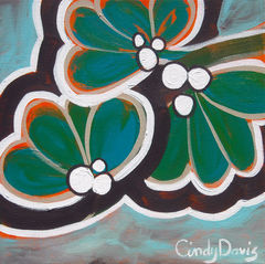 Mint-a-holic,Art,Painting,Abstract,pop_art,flower,blue,teal,modern,painting,cute,bold,bright,small,green,mint,acrylic,paint,canvas