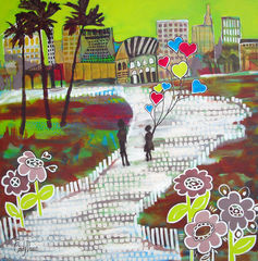 Urban,Love,Affair,Art,Painting,Landscape,abstract,landscape,city,urban,whimsical,Florida,California,hearts,large,mother,pop,romance,green,acrylic,canvas,paint