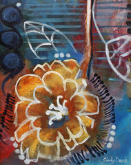 Hanging,Hope,yellow,blue,flower,art,painting,cindy,davis,whimsical,abstract