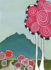 Stand,Up,and,Be,Cute,Art,Painting,pink tree, swirl tree,whimsical,folk,painting,cindy,davis,landscape,cute