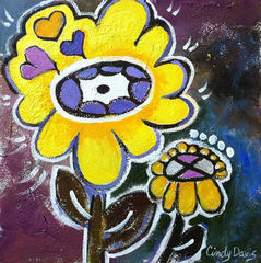 Banana,Flower,Power,Art,Painting,Pop,original,painting,whimsical,yellow,flower,pop,small,floral,child,abstract,folk,happy,purple,acrylic,canvas,paint