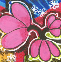 Pink,Pop,Explosion,Art,Painting,original,painting,whimsical,yellow,flower,pop,small,floral,child,abstract,folk,happy,purple,acrylic,canvas,paint