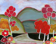 Bouncy,Trees,Whimsical,Folk,Art,Painting,boho,folk,art,flower,landscape,pink,tree,painting,cindy,davis,whimsical