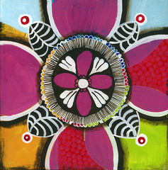 Lacy,Medallion,Art,Painting,Pop,original,painting,whimsical,pop,small,acrylic,medallion,cindy,david,art