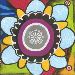 Boho,Medallion,Art,Painting,Pop,original,painting,whimsical,pop,small,acrylic,medallion,cindy,david,art