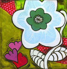 Frosty,Retro,Petals,Art,Painting,Pop,original,painting,whimsical,pop,small,acrylic,medallion,cindy,david,art