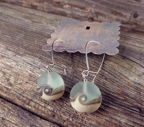 Women's,Earrings,,Argentium,Sterling,Silver,,Beach,Wave,Lampwork,Glass,Beads,,Womens,Everyday,jewelry,Beach jewelry, earrings, Argentium_Silver,lampwork glass,nickel_free, Everyday jewelry, women's jewelry, Summer jewelry, Made in USA