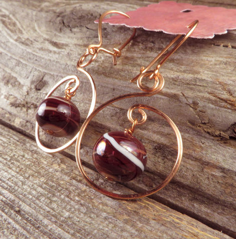 Women's,Earrings,,Hammered,Copper,Swirl,,Red,&,Cream,Swirl,Lampwork,Glass,Beads,,Womens,Everyday,jewelry,Beach jewelry, earrings, Copper, lampwork glass,nickel_free, Everyday jewelry, women's jewelry, Summer jewelry, Made in USA