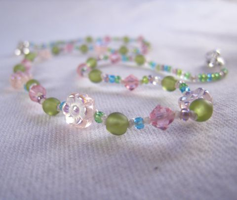 Girls,Necklace,,Pink,Iridescent,Flower,,Swarovski,Crystals,,Green,Beads,Childrens Beaded Necklace, Kids Jewelry, little girls jewelry, Handmade Childrens jewelry