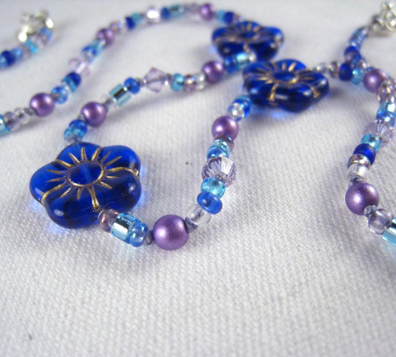 little girls jewelry cobalt blue flowers necklace. Black Bedroom Furniture Sets. Home Design Ideas