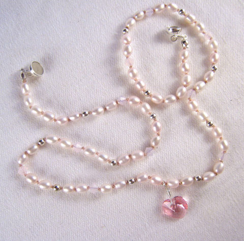 Girls,Jewelry,,Swarovski,Pink,Heart,&amp;,Pearls,Princess,Necklace,,Magnetic,Clasp,Children,Jewelry,Necklace,Magnetic_Clasp,cheerful,light,little_girls,kids,birthday,holiday,christmas,swarovski_pendant,heart,swarovski_crystals,sterling_silver,argentium_silver_findings,lead_safe_magnetic_clasp,Swarovski_Crystals,Sterling_Silver_Be