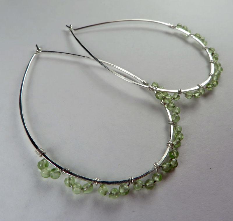 Sterling Silver Peridot Teardrop Hoop Earrings Nickel Free Argentium Teardrops