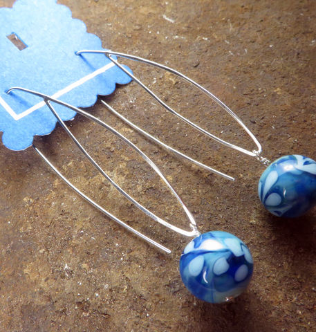 Blue,Leaf,Women's,Earrings,,Argentium,Sterling,Silver,,Lampwork,Glass,,Womens,Everyday,jewelry,Blue earrings, Dramatic earrings, Argentium_Silver,lampwork glass,nickel_free, Everyday jewelry, women's jewelry, Summer jewelry, Made in USA