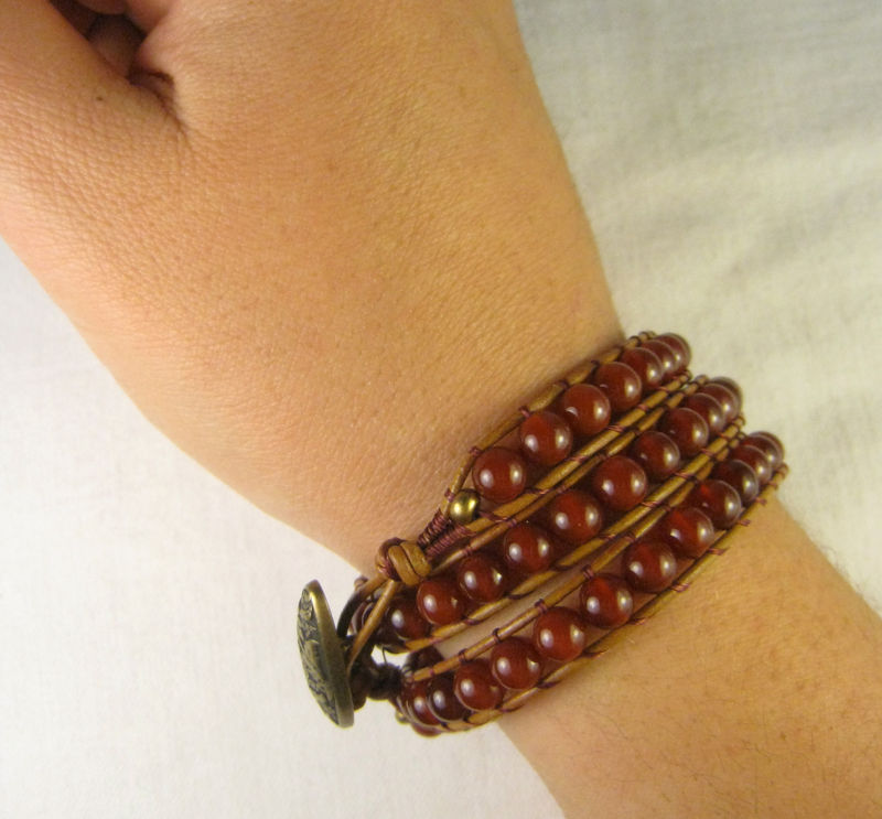 Leather Wrap Bracelet, Red Carnelian,Triple Wrap, button closure - product images  of