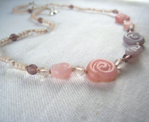 Little,Girls,Necklace,,Pink,&amp;,Purple,Swirls,,Magnetic,Clasp,Children,Jewelry,Necklace,blue,flower,birthday,tween,magnetic_clasp,cobalt,beaded,kids,girls,holiday,whimsical,Czech_Beads,Japanese_beads,argentium_sterling_silver_findings,lead_safe_magnetic_clasp,silk_cord