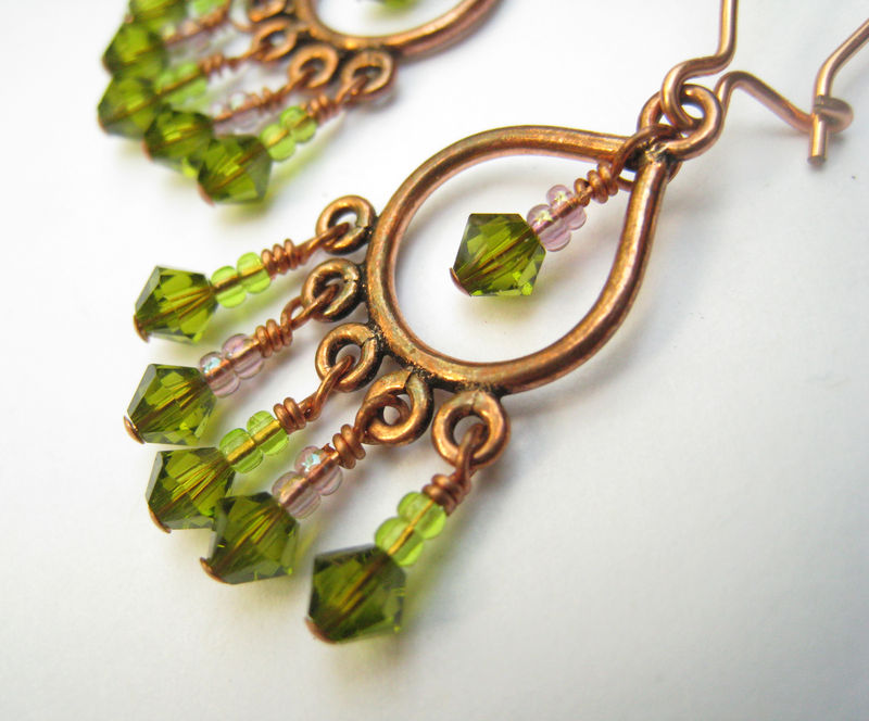 Womens beaded earrings copper chandelier earrings green womens beaded earrings copper chandelier earrings green swarovski crystals womens copper jewelry mozeypictures Choice Image