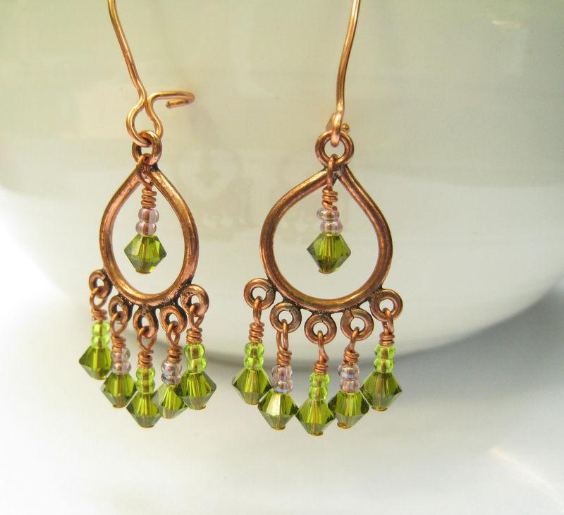 Womens Beaded Earrings, Copper Chandelier Earrings, Green ...