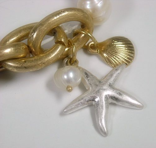 Stretch Beach Sea Themed Bracelet, Chain, Pearls Charms - product images  of