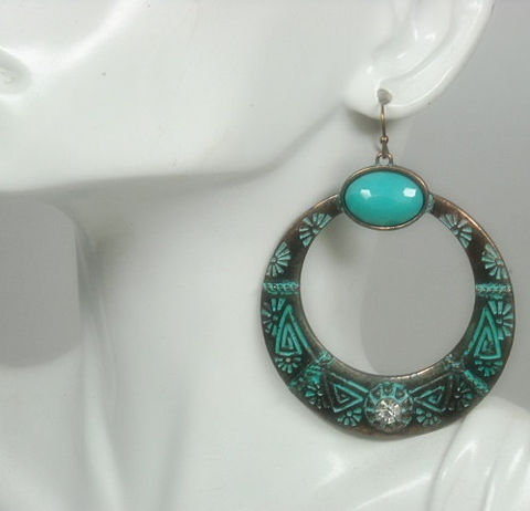 Large,Hoop,Patina,Earrings,with,Turquoise,,Bohemian,Copper,Earrings,,Rustic,,Hippie,,Southwest,,Boho,,Retro,,Statement,Jewelry, Earrings, large hoop patina dangle earrings, turquoise earrings, tribal, southwest, copper patina, verdigris patina, rustic, statement