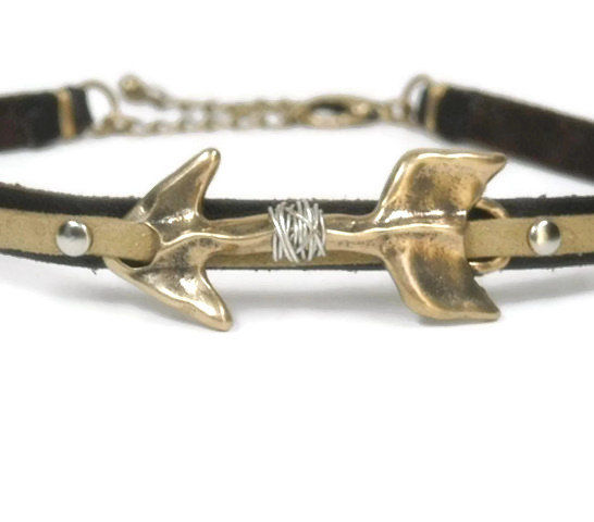 Rustic Leather Arrow Choker Necklace, Southwest Arrow Jewelry, Wire Wrapped Arrow, Native, Southwest, Rocker, Rustic, Gift for Her, Trending - product images  of