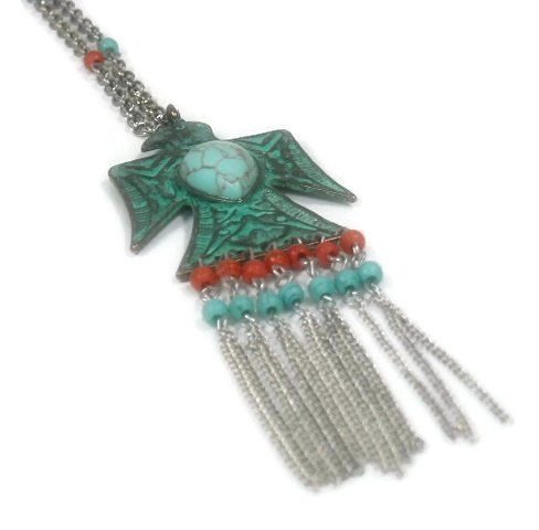Long Eagle Necklace with Beaded Fringe, Eagle Jewelry, Southwest, Native, Layering Necklace, Symbolic Bird, Thunderbird, Gemstone Necklace - product images  of