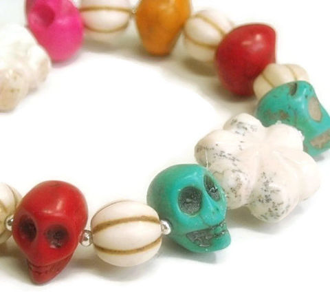 Colorful,Stretch,Skull,Bracelet,,Day,of,the,Dead,,Día,de,los,Muertos,,Multicolor,,Side,Drilled,Skulls,,Gemstone,Colorful Stretch Gemstone Skull Bracelet, Day Of The Dead, Dia De Los Muertos, Multicolor, Halloween, Goth, Festive