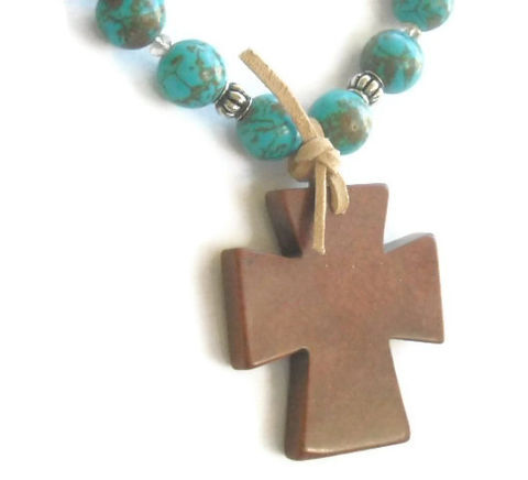 Rustic,Cross,Necklace,-,Turquoise,Jewelry,Country,Western,Southwest,Cowgirl,Gemstone,cross_necklace,cross_jewelry,turquoise_necklace,rustic_stone_cross,cowgirl_necklace,country_western,southwest_necklace,western_jewelry,western_necklace,easter,chunky_necklace,primitive,black_friday_cyber_m,12mm magnesite rounds,5mm AB cry
