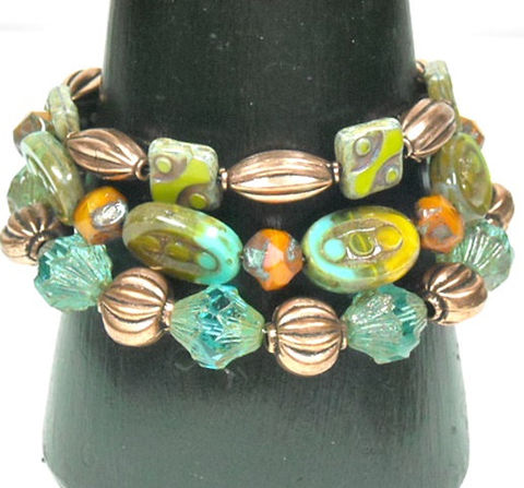 Boho,Stacked,Bracelet,,Picasso,Glass,Beaded,Multistrand,,Multi,Strand,,Layered,Czech,and,Copper,Adjustable,Jewelry,Bracelet,beaded_bracelet,picasso_glass_beads,stacked_bracelet,boho_bohemian,triple_strand,layered_bracelet,adjustable,mixed_media,aqua,orange,lime_green,chunky,hippie_jewelry,green picasso glass squares,aqua green orange picasso glass ovals,aqua f