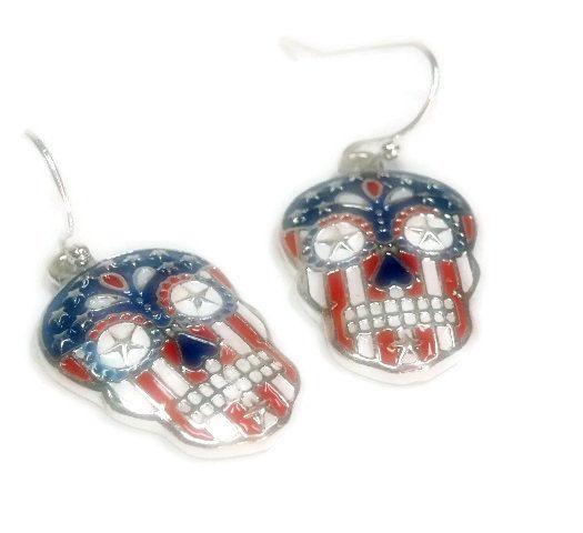 Sugar Skull Earrings Dia De Los Muertos Day Of The Dead Dangle Jewelry Calaveras Patriotic Flag Epicetera