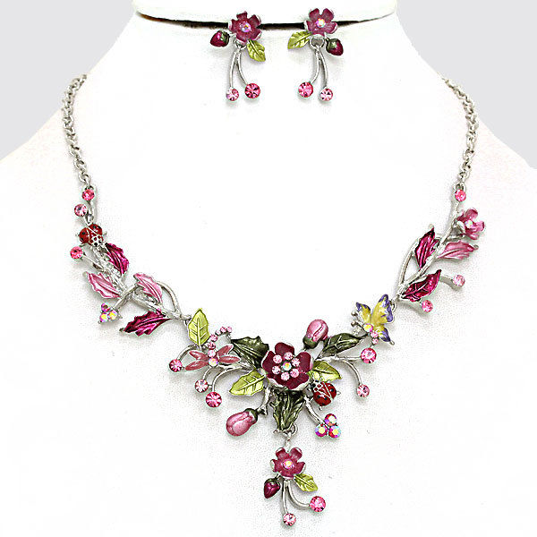 Crystal Floral Necklace Flower Necklace And Earring Set Pink