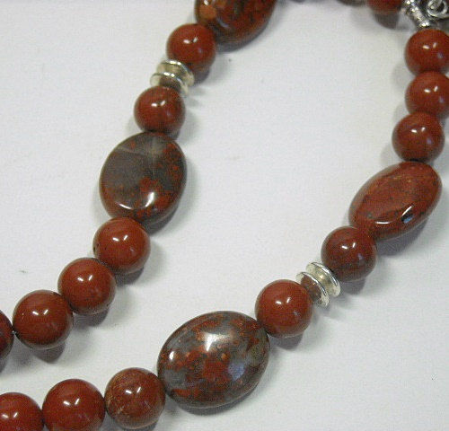 Red Creek Jasper and Amazonite Stone Oxidized Sterling Silver Stone Necklace Statement Necklace OOAK Gemstone Necklace Under 70