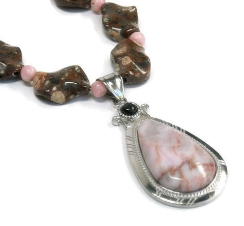 Rhyolite,Necklace,Rainforest,Jasper,Rhodochrosite,Rare,Gemstone,Jewelry,Pink,Brown,Pendant, Necklace, rhyolite jasper, gemstone, brown spotted, rhodochrosite, rainforest jasper, brown, pink, natural stones, jasper pendant, rare gemstones