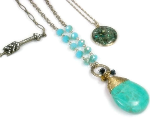 Bohemian,Jewelry,,Layered,Chains,and,Charms,Necklace,,Turquoise,,Multistrand,,Set,of,3,,Boho,,Arrow,,Gemstone,Pendant,Jewelry,Necklace,Layer_Necklace,Layered_chains,turquoise_pendant,multi_layer,bohemian_boho,multi_strand,triple_strand,jewelry_trends,trending_jewelry,turquoise,set_of_3,layering_necklace,black_friday_cyber_m,howlite pendant,antique brass chain and lobster