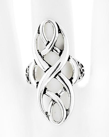 Long Basket Weave Swirl Stretch Ring - Adjustable Ring - Metal Ring - Multifinger Ring - Multi Finger Ring - Silver Metal Ring - product images  of