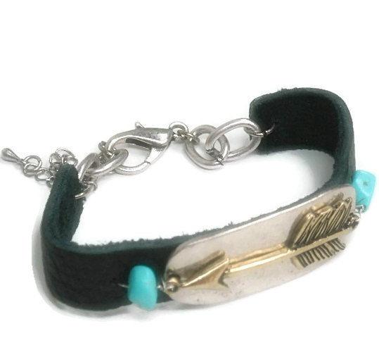 Arrow Bracelet Unisex Arrow Bracelet Arrow Jewelry Black