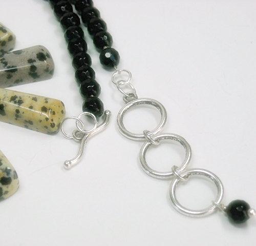 Dalmatian Quartz Jasper with black agate double strand Necklace Set