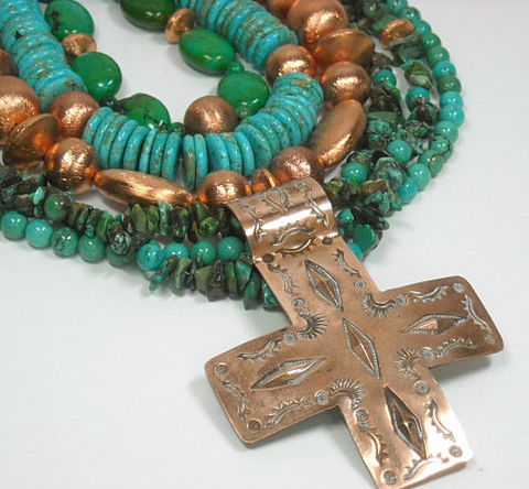 Turquoise,Necklace,,Genuine,Turquoise,,Multistrand,,Multi,Strand,,Layered,Real,Chunky,,Jewelry,,Statement,Jewelry, Necklace, Genuine Turquoise Gemstone Necklace, layered necklace, real turquoise, chunky, statement, six strand, southwest, western, multistrand, multi row, necklace, stacked turquoise, cross pendant