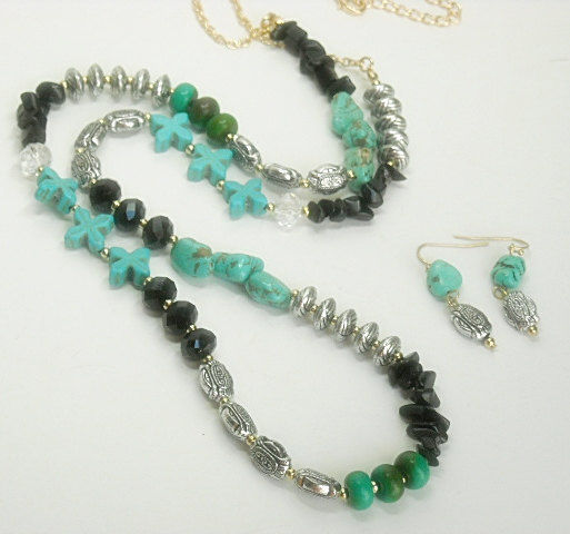 bohemian necklace bohemian jewelry turquoise jewelry Boho chic tassel necklace layering necklace