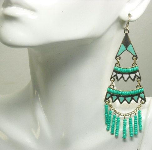 Bohemian Jewelry Boho Chic Earrings Turquoise Long Dangle Southwest Gypsy Hippie Cow Chandelier Beaded Epicetera