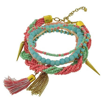 Boho,Beaded,Cuff,Bracelet,-,Multistrand,Tassel,Layered,Pastel,Bohemian,Jewelry,Stretch,Multicolor, Bracelet, Multi Row Tassel Bracelet, Multistrand, layered, beaded, Bohemian, Boho, Indie, multicolor, hippie